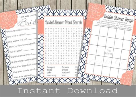 bridal shower how well do you the and groom printable bridal shower set navy blue and coral