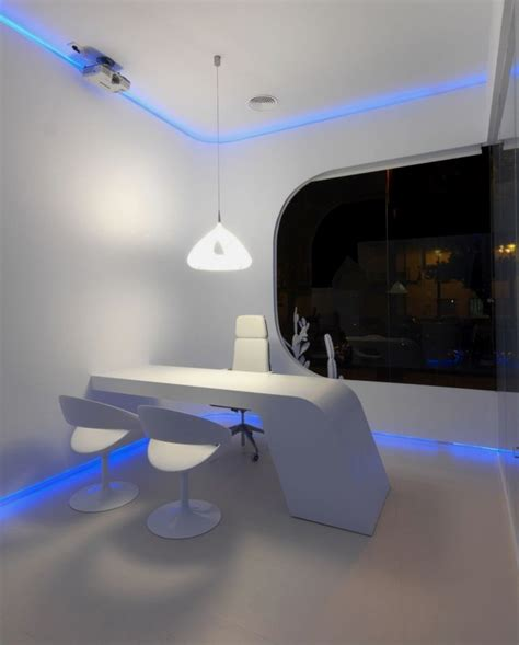 Banister Decorations Modern And Futuristic Office In Blue Glowing Light