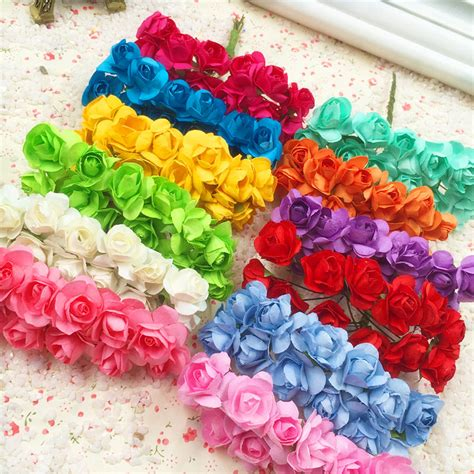 Flower Wedding Gift by 144 Pcs A Artificial Flowers Mini Paper Flowers Wedding