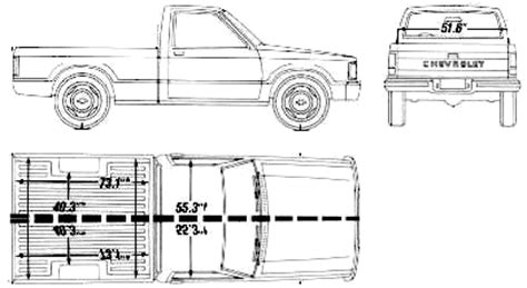 car blueprints 1990 chevrolet s 10 bed up