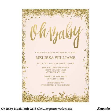 Glitter Baby Shower Theme by Oh Baby Blush Pink Gold Glitter Baby Shower Invitation