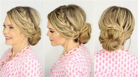 brady braided formal updo french lace braid updo prom hairstyle missy sue youtube