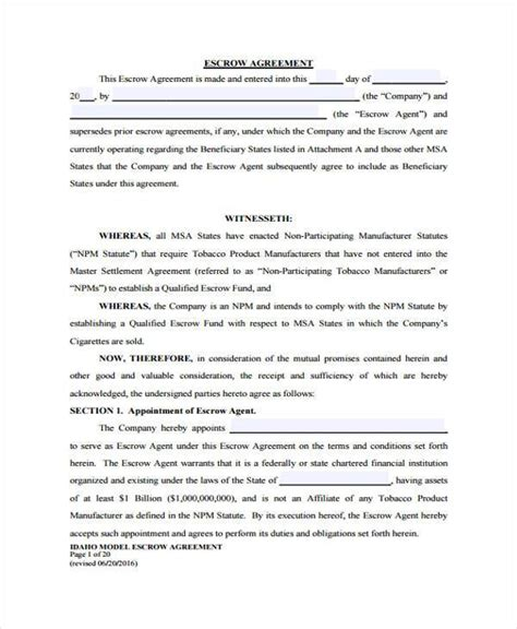 escrow agreement template escrow agreement template project finance agreement