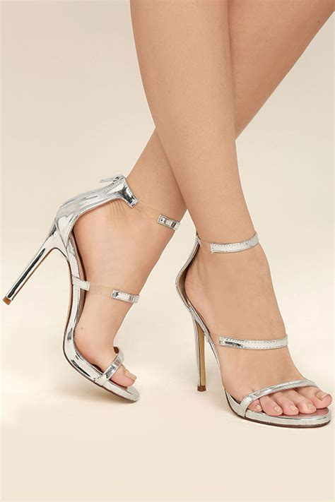 Hight Hells Silver chic silver heels metallic heels high heel sandals