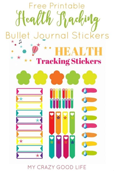printable stickers journal free health and fitness bullet journal sticker sheet my