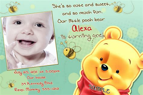 Winnie The Pooh Birthday Invitation Cards Winnie The Pooh Birthday Invitations By Createphotocards4u