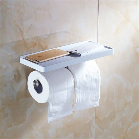 toilet paper shelf double toilet paper holder wall mount with shelf stainless