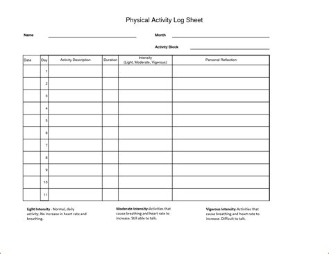 activity templates 8 daily activity log template authorizationletters org