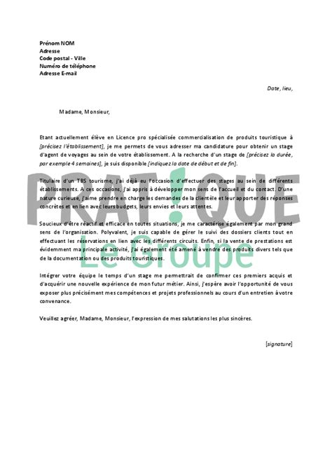 Lettre De Motivation Office De Tourisme Modele Lettre De Motivation Stage Agence De Voyage Document
