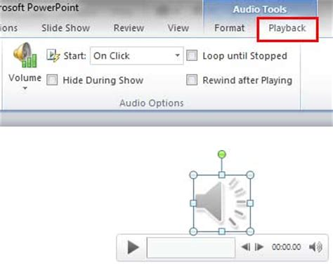 format audio in powerpoint sound across specific slides in powerpoint 2010 for windows