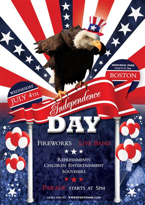 Independence Day Flyer Template Psd By Silentmojo On Deviantart Free Patriotic Flyer Template