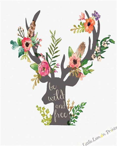 free printable watercolour flowers printable watercolor deer antler art print by