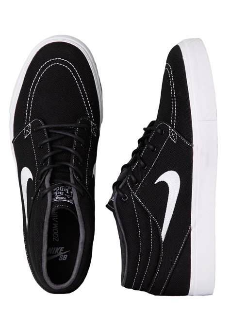 nike zoom stefan janoski mid black white shoes