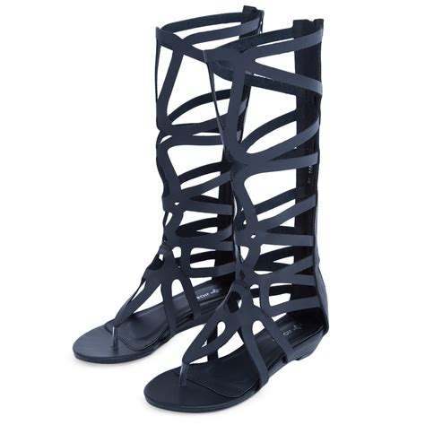 knee high strappy sandals gladiator sandals strappy low wedge knee high zip up