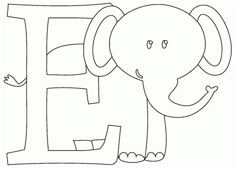 e is for elephant coloring page coloring com