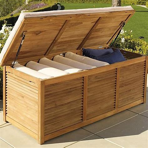 outdoor trunk bench louvered teak trunk frontgate traditional storage