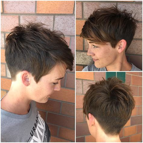back view of womens short hairstyles with clippered back 10 peppy pixie coupes gar 231 on coupe girlie de d 233 coupe