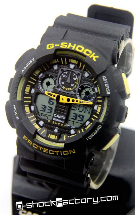 G Shock Ga 100 Black Opp3 g shock ga 100 black yellow wrist by www g