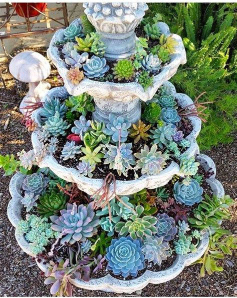 succulent fountain ideas   convert  fountain