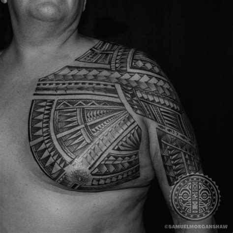 polynesian chest tattoo freehand polynesian chest kulture kollective
