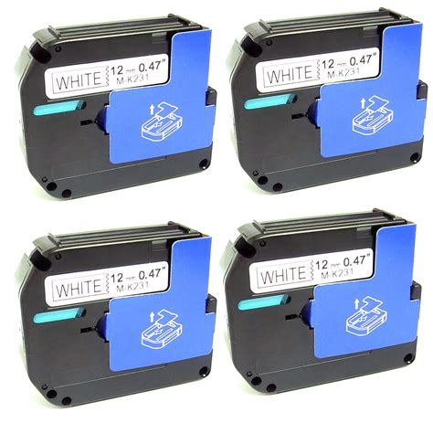 4pk compatible with p touch labels mk231 white