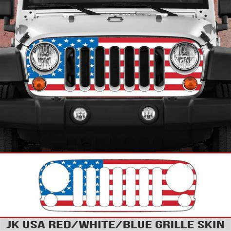 white and blue jeep wrangler jk grille usa white blue alphavinyl