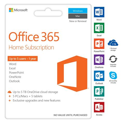 microsoft home office microsoft office 365 home 5 device 12 months download