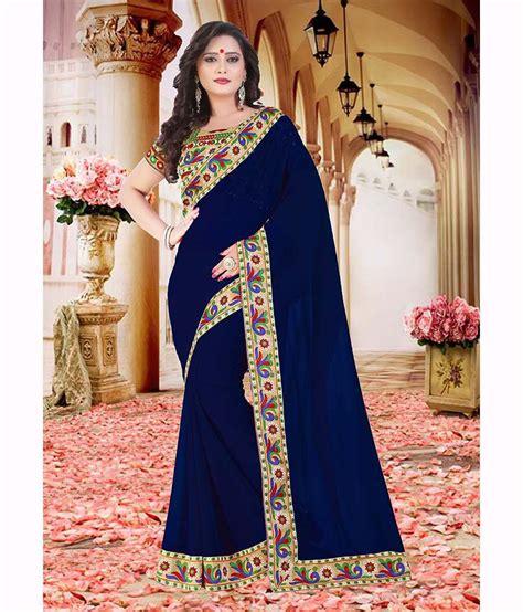 Drs 2in1 32 sareeshop designer sarees navy chiffon saree