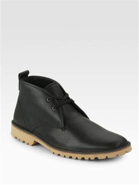 lacoste leather chukka boots in black for lyst
