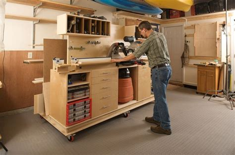 garage workshop designs lumber storage and miter station mitre saw station