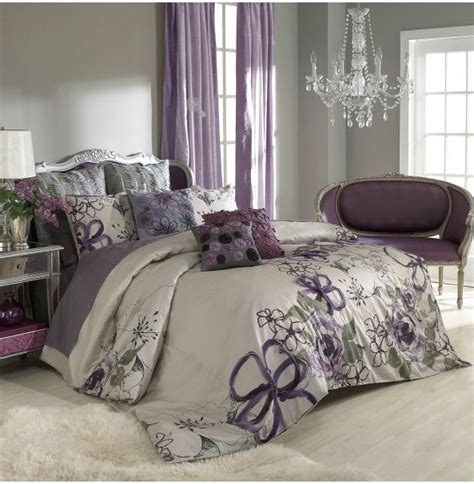 Grey And Purple Bedroom | sage wall color purple curtains bedspread bedroom