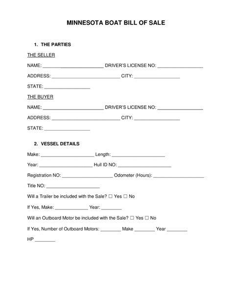 mn boat trailer registration free minnesota boat bill of sale form word pdf