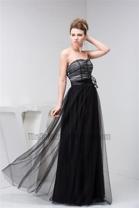 Classic Evening Dress classic black strapless tulle formal dress prom evening