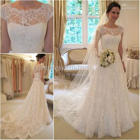 a line wedding dresses with cap sleeves style