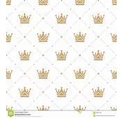 Gold Crown Background Seamless Pattern In Retro Style With A