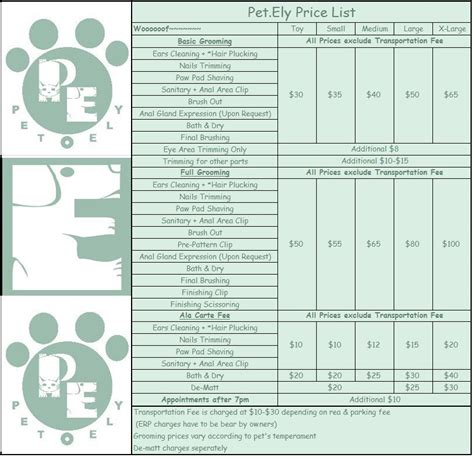 puppy price list click on image for price list grooming prices 832x804px 422919 lookanimals