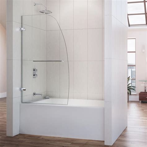 Overstock Shower Doors Dreamline Aqua Uno 34x 58 Inch Single Panel Hinged Tub Door