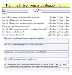 Evaluation Letter For Trainee Course Or Effectiveness Evaluation Form And Checklist Template Sle Vlashed