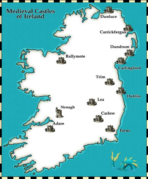 Ireland Vacation Ideas by Map Of Castles In Ireland English Was Set Up Henry