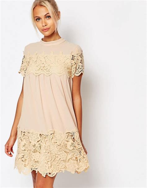 asos smock dress in lace fashion union fashion union smock dress with lace inserts