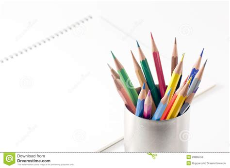 sketchbook with colored paper colored pencil and sketchbook royalty free stock photos
