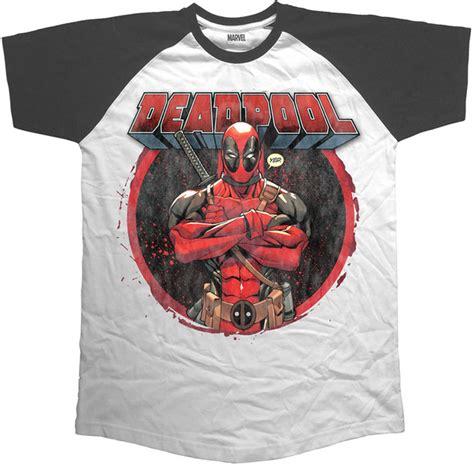 Kaos Deadpool Raglan Deadpool 16 deadpool crossed arms sleeve mens black raglan x
