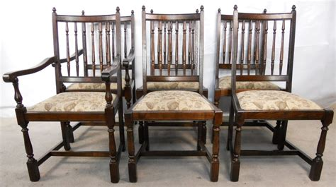 sold set of six antique style elm highback dining
