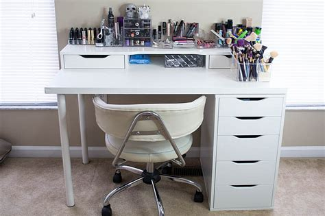 White Ikea Vanity Makeup Table With Alex Drawer And Ikea White Vanity Desk