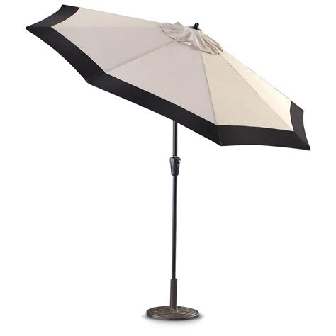 Umbrellas For Patios Castlecreek 9 Two Tone Deluxe Market Patio Umbrella Khaki Black 233707 Patio Umbrellas At