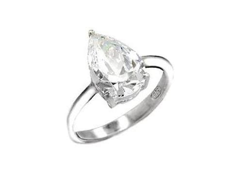 sterling silver 925 pear drop cut cz engagement ring brand