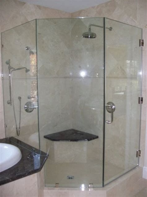 Neo Angle Frameless Shower Door Frameless Shower Door Neo Angle Traditional Bathroom Los Angeles By Algami Glass Doors