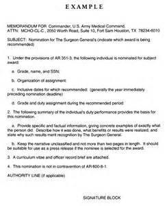 Memorandum Sle Template by Army Award Template Army Award Recommendation Letter
