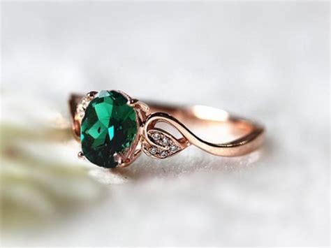 6x8mm oval emerald ring treated emerald wedding