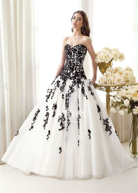 White Black Wedding Dresses by Tulle Gown Sweetheart Black And White Wedding Dresses